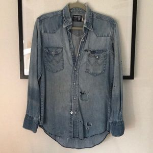 RAD Vintaged Thrashed Wrangler Denim Shirt. L